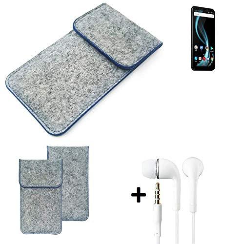 K-S-Trade Filz Schutz Hülle Für Allview X4 Soul Infinity Plus Schutzhülle Filztasche Pouch Tasche Handyhülle Filzhülle Hellgrau, Blauer Rand + Kopfhörer