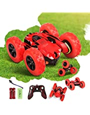 Innoo Tech RC Stunt Car Rechargeable Racing Car with 2.4Ghz Remote Control, High Speed Car Toys 4WD Double Sided 360° Spins and Flips Driving Car Toys for Kids Boy(Red)