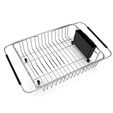 SANNO Expandable Dish Drying Rack,Over The Sink Adjustable Dish Drainer,Dish Rack in Sink or On Counter with Utensil Silverware Storage Holder, Rustproof Stainless Steel