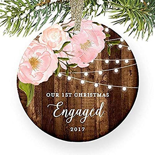 For367Walton Engagement Gifts for Her, Our 1st Christmas We're Engaged First Christmas Ornament 2017 Couple Pink Peonies Rustic Xmas Farmhouse Collectible 3' Flat Circle Porcelain