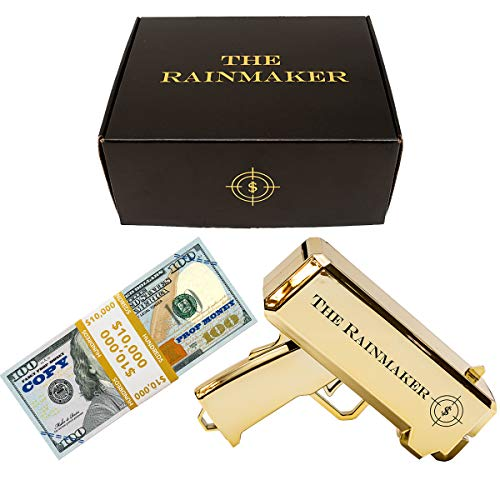 All Out Solutions The Rainmaker Money Gun | $10,000 Prop/Copy Money | Replica Money Looks Real! | Metallic Gold | Impress Your Friends with This Fun Party Toy | Shoot Cash and Make It Rain