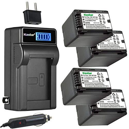 Kastar 4-Pack VW-VBT380 Battery and LCD AC Charger Compatible with Panasonic HC-V550M, HC-V550K, HC-V620M, HC-V710, HC-V720, HC-V720M, HC-V720GK, HC-V720MGK, HC-V720K, HC-V750, HC-V750M Camera