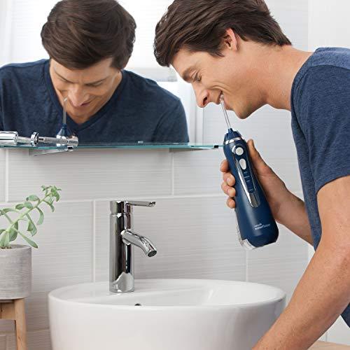 Waterpik WP-563EU Irrigador Bucal Recargable Irrigador Dental Portátil, Color Azul