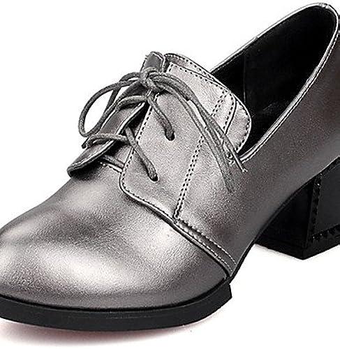 GGX Damen Schuhe geschoben Ferse Heels Schuhe Heels Kleid SchwarzSilber Grau