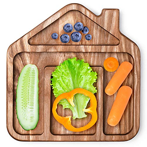 Lelekka® Assiette en bois pour enfants, Petite Maison, Natural product, made in Europe