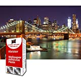Great Art Photo Wallpaper Brooklyn Bridge at Night Decoration 210x140 cm / 82.7x55in  New York City America USA Big Apple Skyline River Wall Street Mural  5 Pieces Includes Paste