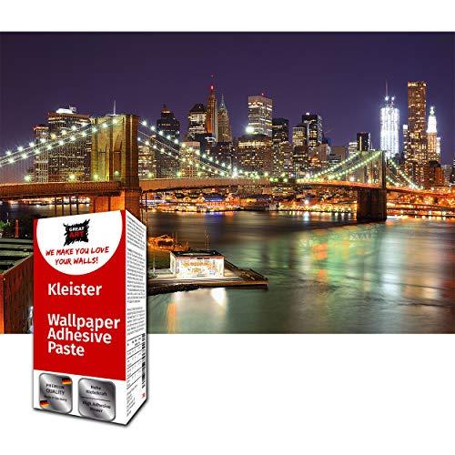 GREAT ART Photo Carta da Parati – Ponte di Brooklyn di notte – skyline di New York City fosforescente USA Big Apple Wall Street – 210 x 140 cm 5 pezzi e colla inclusa