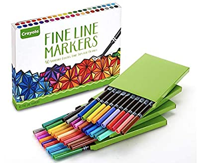 Crayola Fine Line Markers Adult Coloring Set, Stocking Stuffers Gift Age 12+ - 40 Count