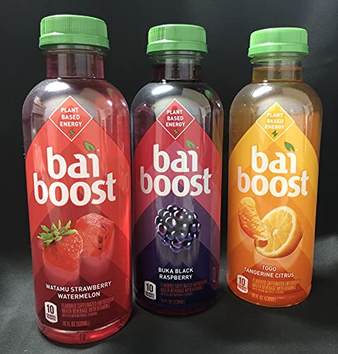 Luv Box, Bai Boost, Watama Strawberry Watermelon, Buka Black Raspberry, Togo Tangerine Citrus, 18 oz , 12 Units (4 of each Flavor)