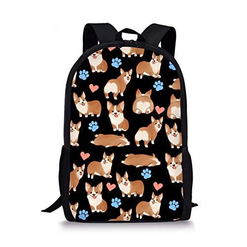 Nopersonality Funny Corgi Backpack for Kids for School Book Bags Boys Girls Rucksack Lightweight Bookbags Childrens Back Packs