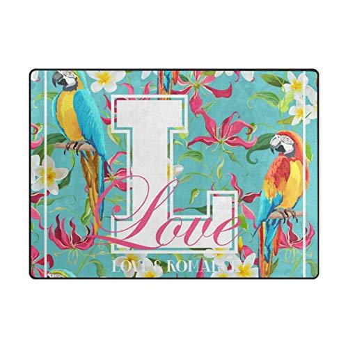MALPLENA Romantique Parrot Zone Tapis antidérapant Pad Moyen d'entrée Paillasson Tapis de Sol Chaussures Grattoir, Polyester, 1, 63 x 48 inch