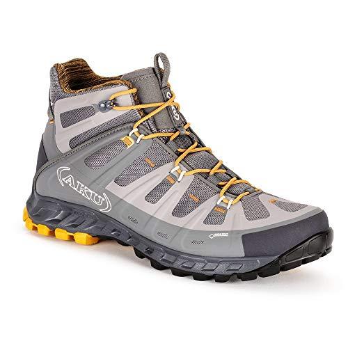AKU Selvatica Mid GTX - Chaussures Mid Outdoor Hiking Trekking - Gore-Tex + Vibram Megagrip - Gris - Grey / Ochre, 42.5 EU EU