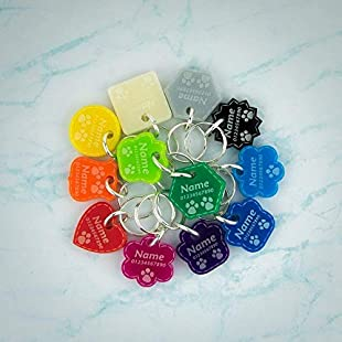 Cat Tags | Dog Tags | Personalised Pet ID | Engraved Acrylic | 12 Colours | 8 Shapes | 3 Sizes ❤