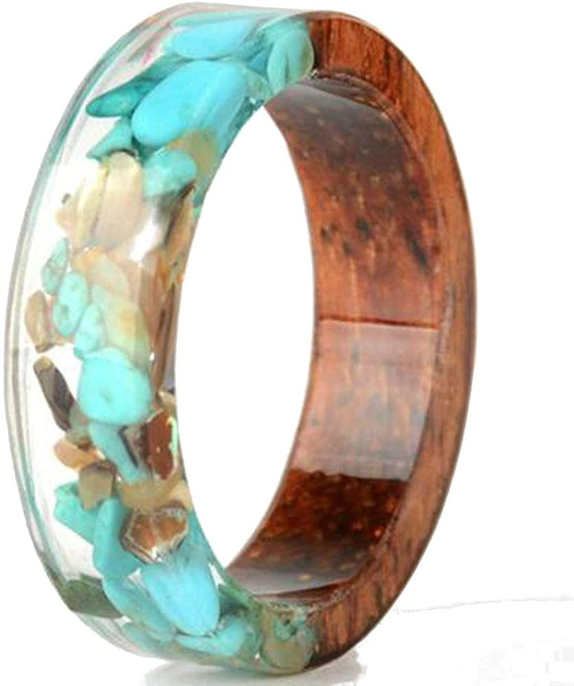 8mm Transparent Acrylic Resin Wood Ocean Style Wedding Band Anniversary Ring