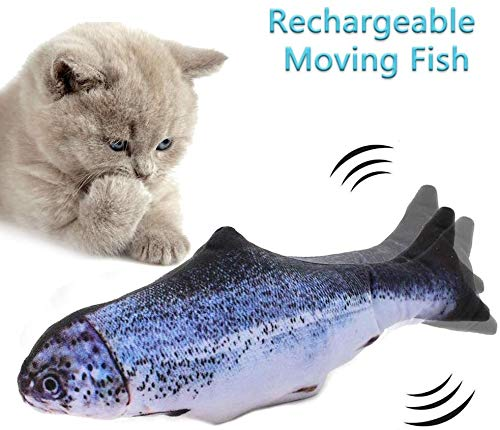 JEWAYTEC Moving Fish Cat Toy, Electric Flopping Fish Cat Interactive Toys, Automatic Wiggle Simulation Fish Fun Toy for Kitten Cats Pets - 1 Pack