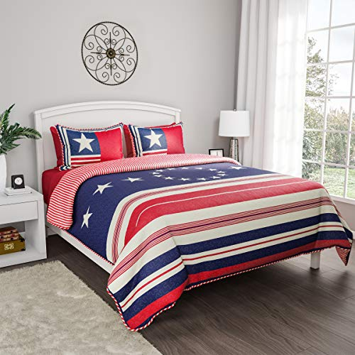 Bedford Home 2-Piece Quilt and Bed Set – Hypoallergenic Polyester Microfiber Glory Bound Patriotic Americana Flag, TXL