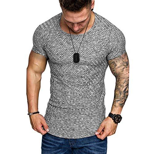 T-Shirt Herren Sommer Sport Rundhals Shirt Slim Fit Drucken Oansatz Kurzarm Bluse Outdoor Sweatshirt Männer Jogging Trikot Grau Shirt