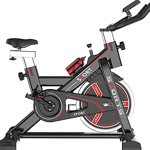SLRMKK Cyclette, Volano da 5 kg con Trasmissione a Cinghia Diretta Ciclismo Indoor, Resistenza Magnetica, Manovella a 3 Pezzi, per Palestra Cardio Domestica con Comodo Cuscino del Sedile