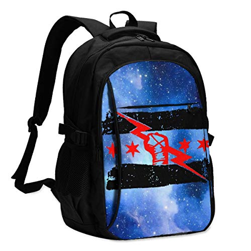 Personalized Backpack With Usb Charger Port Cm Punk Best In The World Laptop School Bag Waterproof Business Travel Rucksack Multipurpose Daypack For Teens And Adult