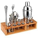 Hossejoy Hochwertiges Cocktailshaker Set,14 Teilig, mit Bambus-Aufbewahrung, inkl. Cocktail-Shaker, Doppeljigger, Messbecher, Bar Stößel, Bar Löffel, Ausgießer, Eiszange, Öffner, Hawthowe Strainer
