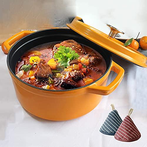 Multifunction Rice Cooker Non-Stick Cast Iron Dutch Oven w/Lid,Round Enameled Cast Iron Dutch Oven,Multi Cooker Use as Bread Pot,Soup Pot,Stew Pot - Best Gift-Orange 22cm