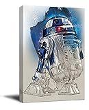 YITUOMO Star Wars R2 D2 - Lienzo decorativo enmarcado (30,5 x 45,7 cm), diseño de robots de Star Wars para baño, estirado y listo para colgar)