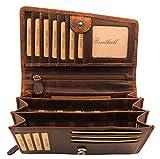 Benthill Damen Geldbörse Leder - Hochwertige Frauen Portemonnaie aus echtem Leder - Reißverschluss - Organizer - Großes Portmonee (Braun)