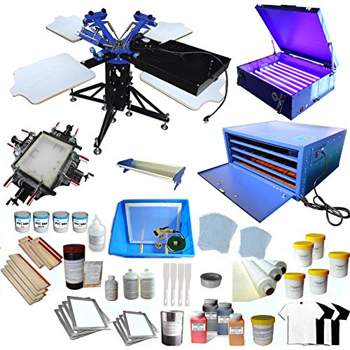 INTBUYING 3 Color Screen Printing Kit T-Shirt Printing Press 4 Station Screen Printing Machine