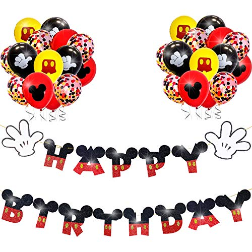Mickey Mouse Birthday Banner Decorations for Kids 1st Birthday Mickey Theme Clubhouse Party Favor Glitter Happy Birthday Banner with 12Pcs Confetti Latex Balloons Supplies