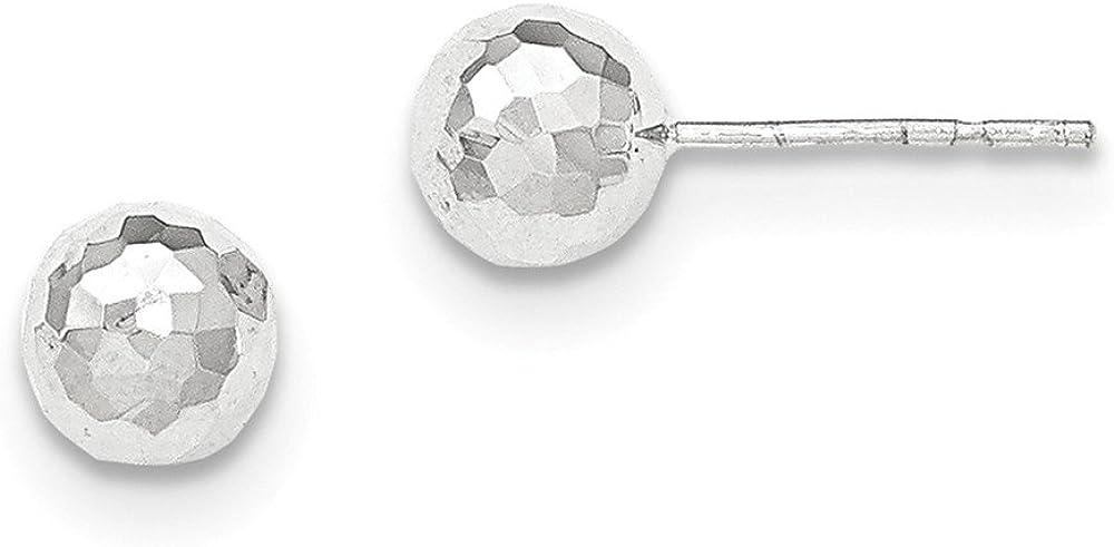 14K White Gold Polished Diamond-Cut 7MM Ball Post Earrings