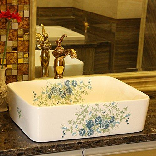 XLPXX Becken Keramik erhöhen rechteckige Art Waschbecken Waschbecken DREI-Farben-Mosaik Blue Rose (Color : B)