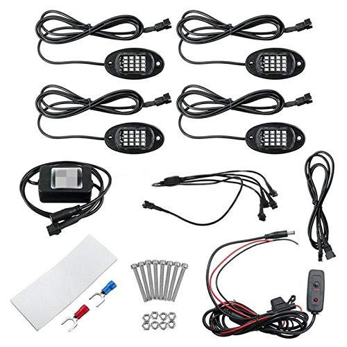 L.J.JZDY 4 Piezas LED RGB Off-Road Rock Lights Bluetooth Music Control Fit Car Truck Camión SUV Atmósfera Coche Luces de la señal de automóviles Automotor