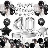 MMTX 40 Decoración fiesta cumpleaños, Feliz cumpleaños Decoracion Globos Negro plateado con Happy Birthday Banner, impresión látex Globos de papel de corazón de estrella para Niño Hombres Niña Mujer