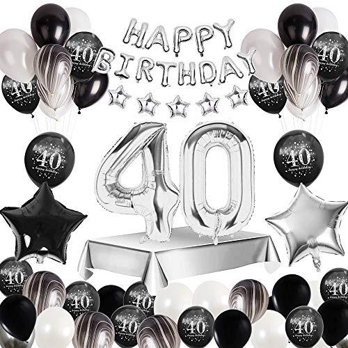 MMTX 40 Decorazione Festa di Compleanno, Palloncini Compleanno Argento Nero di banner Happy Birthday, stampa palloncini in lattice palloncini foil stella cuore per forniture per ragazzo uomo donna