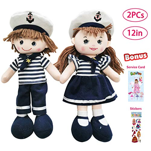 """ANLEVO 2 Pieces 12"""" Super Soft Navy Doll for Babies Toddlers Girls, Snuggle Play Toy Plush Doll Birthday Gifts (Free Stickers and Service Card)"""