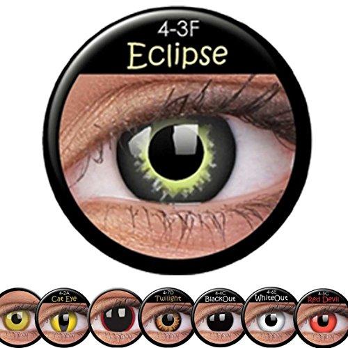 Amakando Grün-Schwarze Farblinsen Vampir Augenlinsen Eclipse Motivlinsen Werwolf Kontaktlinsen Effektlinsen