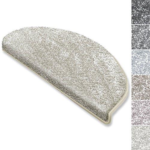 casa pura Stufenmatten Sundae | viele Varianten | Treppenteppich mit kuschlig weichem Flor | kombinierbar mit passenden Läufern | Creme - Halbrund - 15 Stück Set