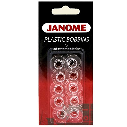 Janome Genuine 10 Pk. Plastic Bobbins #200122614 for All Janome & Necchi Models