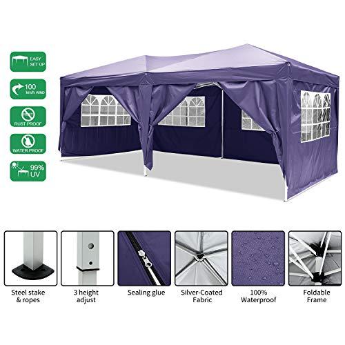 Laiozyen Pavillon 3mx6m, faltbares wasserdichtes Dachzelt, faltbares Zelt mit 4 Seiten für Garten / Party / Hochzeit / Picknick / Markt (lila)