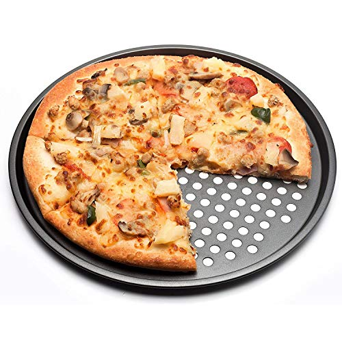 Kuinayouyi De Acero al Carbono Antiadherente Pizza Hornear Pan Bandeja de 32cm Pizza Plato Platos Titular de Horno de Cocina Hogar Herramientas de Hornear Accesorios