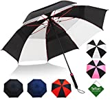 Repel Umbrella Golf Umbrella - 60' Large Vented Folding Double Canopy - Auto Open with Triple Layered Reinforced Windproof Fiberglass Ribs and Teflon Coating