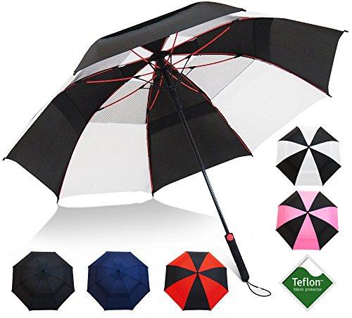 "Repel Umbrella Golf Umbrella - 60"" Vented Double Canopy with Triple Layered Reinforced Fiberglass Ribs and Teflon Coating, Auto Open (Black & White)"
