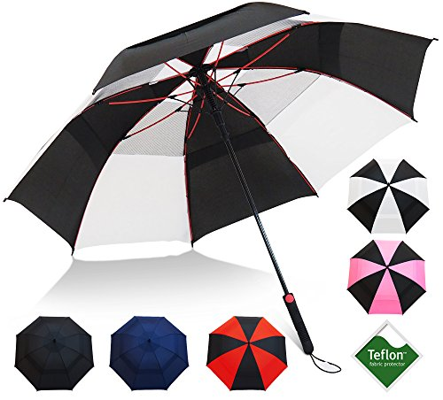 "Repel Umbrella Golf Umbrella - 60"" Vented Double Canopy with Triple Layered Reinforced Fiberglass Ribs and Teflon Coating, Auto Open (Black & White)"