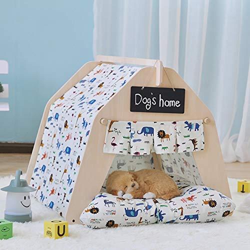 Zoueroih Hundehütte Pet Teepee for Hunde Tragbare Haustier-Zelt-Hundehütten, Modern Teepee Zelt for Hunde Haustier Teepee mit Fußboden-Matte for Hund Katze Kaninchen (Color : White, Size : S)