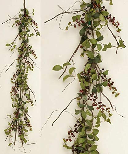 for Primitive Country Cottage HERB Leaf Berry Garland Burgundy Berries Swag 60' Verits Supplier for Home & Garden
