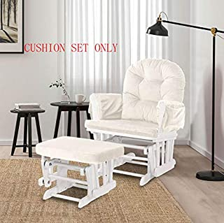 Glider Rocking Chair Replacement Cushions Velvet Washable for Chairs & Ottoman Cream