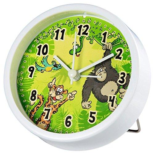 Hama Barnväckarklocka utan tickande djungel (analog väckarklocka för barn, tyst, med djungelmotiv) grön
