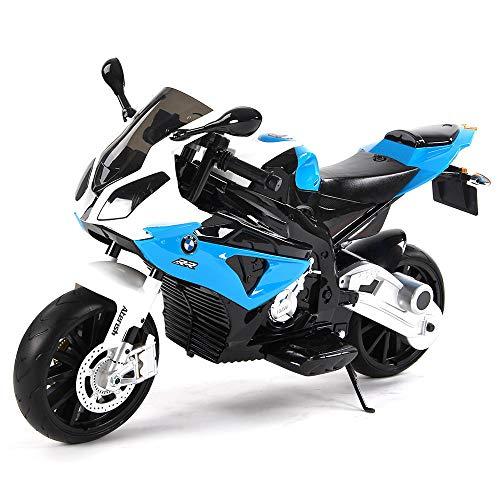 giordano shop Moto Elettrica per Bambini 12V BMW S 1000 RR Super Sport Blu 2 Motori