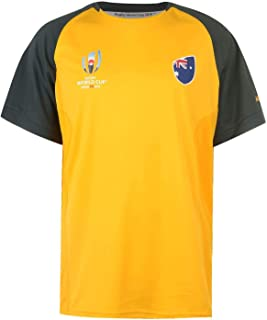 Australia Rugby World Cup 2019 Team Poly T-Shirt Mens Yellow Fan Top Tee Shirt