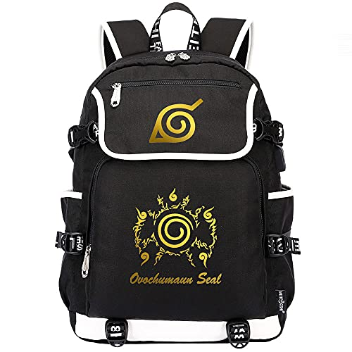 XUNUOL Mochila escolar Naruto Anime Mochila duradera para computadora portátil, mochila impermeable para cosplay de la universidad, mochila de viaje al aire libre con puerto de carga USB